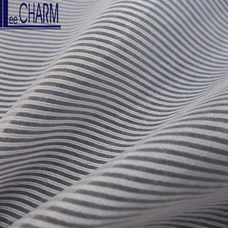 LCSH087 Fashion Organza 100% Polyester Voile Upholstery Striped Fabric