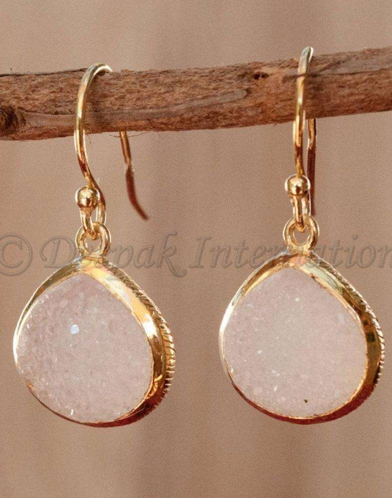 new collection natural pink druzy 925 sterling silver yellow gold plating proposal woman's earring