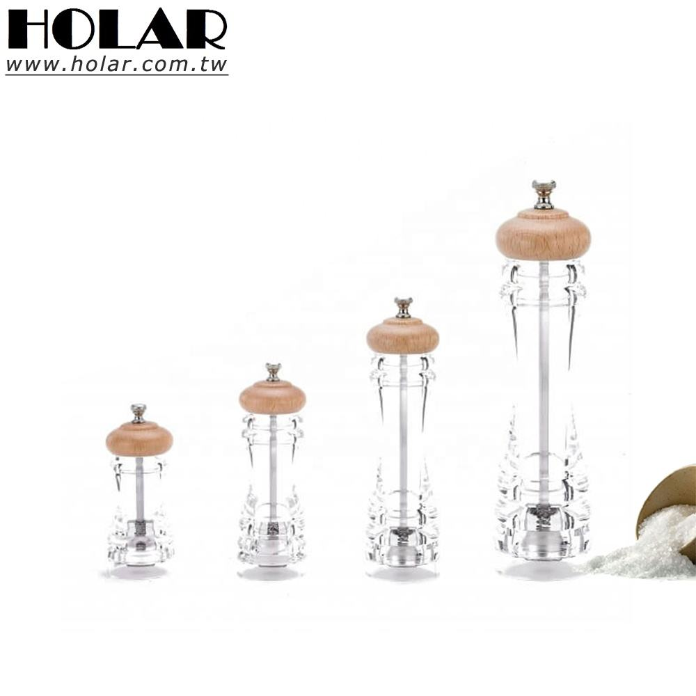 [Holar] Taiwan Made Clear Pepper Mill with Acrylic&Beech wood top