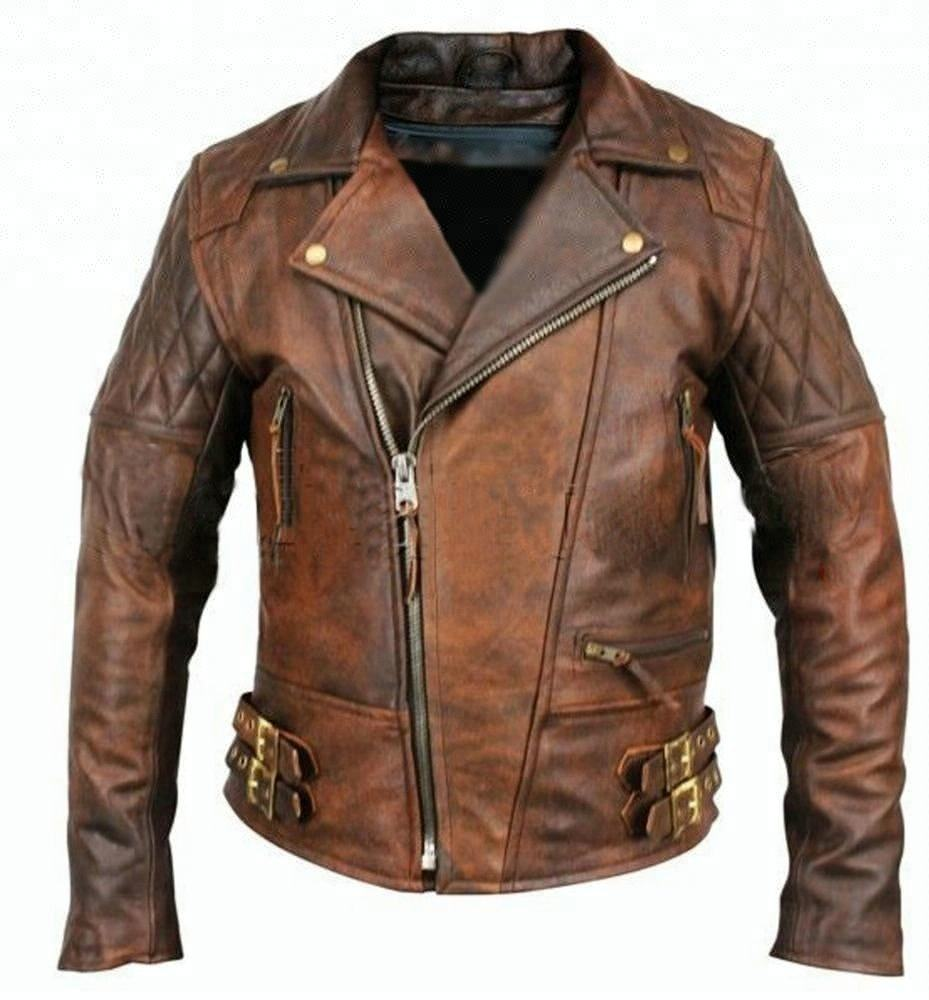 Diamond Classic Brown Afligido do Motociclista Da Motocicleta Do Vintage Jaqueta De Couro real