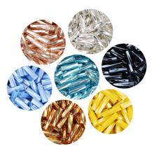 40g/bag Long tube glass rice beads jewelry making accessories
