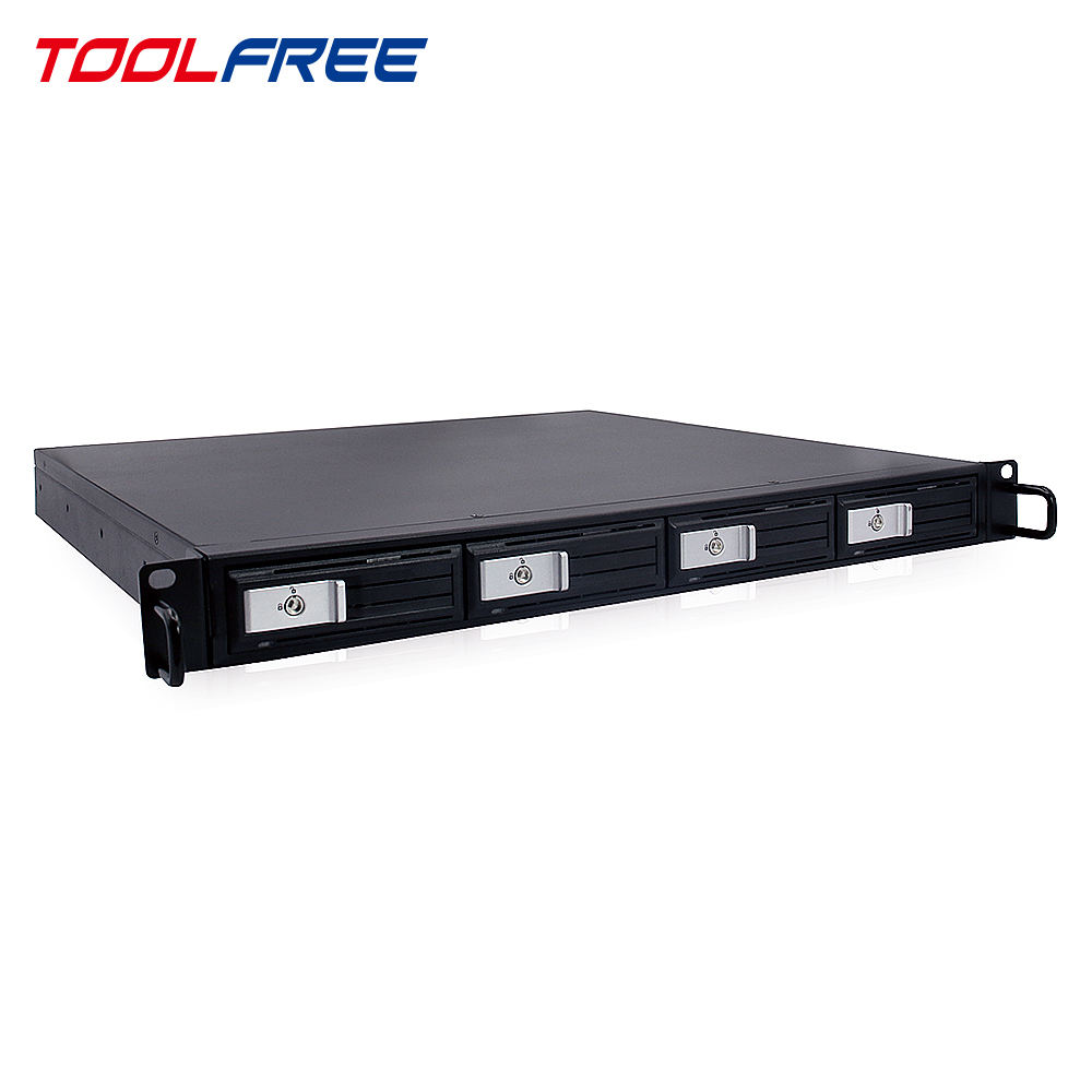 TOOLFREE 1U Server RackMount 4Bay Trayless HDD Gehäuse USB3.0 Hot Swap Lagerung Fall Chassis