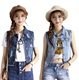Women Jeans Jacket Sleeveless Denim Vest Coat Turn Down Collar Button Hole Vintage Breasted Outwear plus size