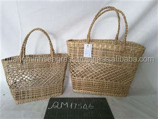 100% natural seagrass tote bag hot selling summer wicker beach bag top wholesale straw shopping bag