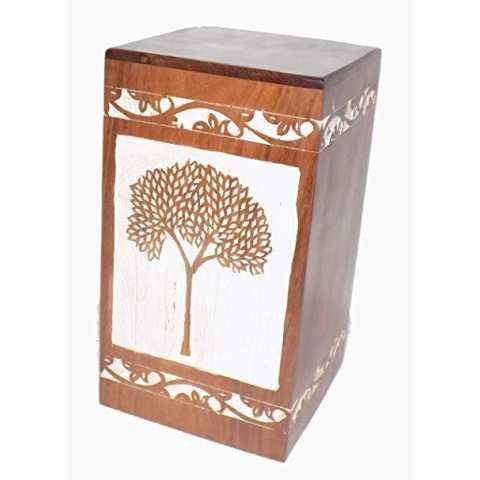 Tree Antique Memorial Cheap Engraved Wooden Casket Box for Adults Human Funeral Ashes Cremation urns American/European Style