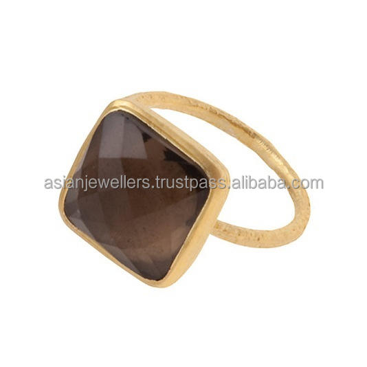 925 sterling silver smoky quartz gemstone matted finish gold vermeil ring