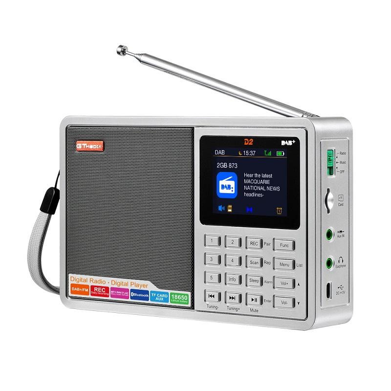New Model GTMEDIA D2 Digital broadcasting Radio DAB+ Radio player Support FM/DAB daily recording to TF card BT V2.1+EDR