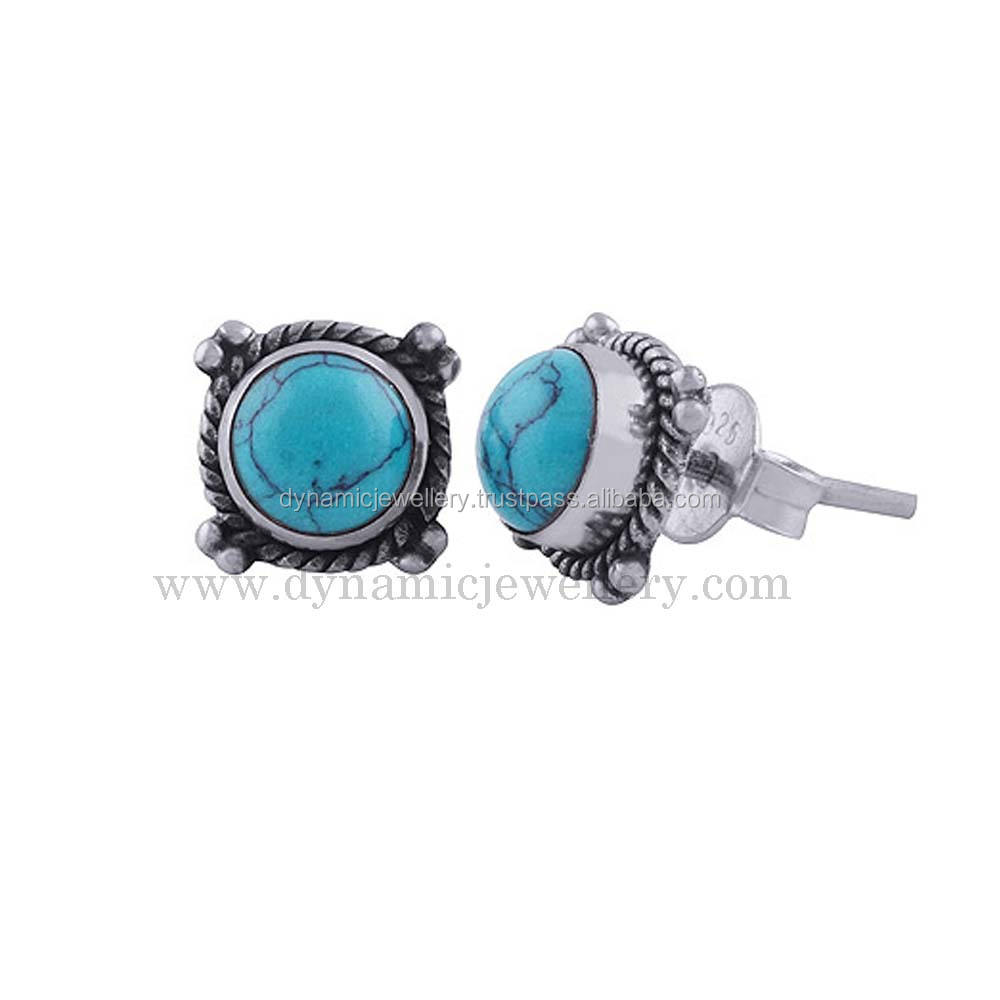 Amazing Look Turquoise 925 Silver Earring