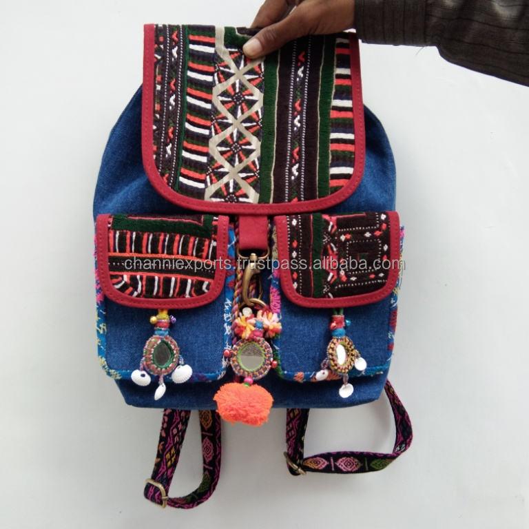 Diseñador vintage estilo bordado a mano <span class=keywords><strong>banjara</strong></span> denim mochilas con pompón borlas