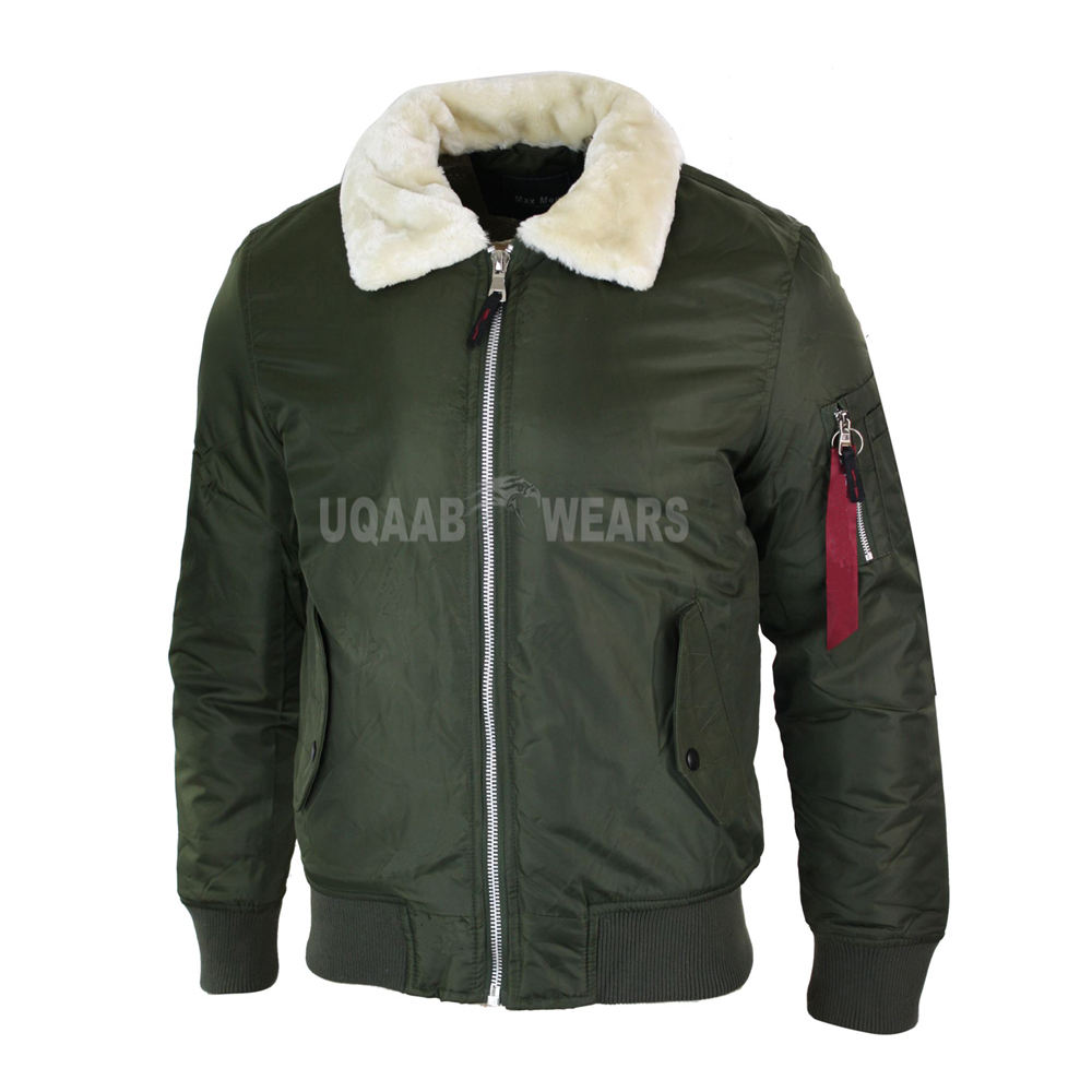Mens Pilot Fur Collar Bomber Aviator Flying Air Force MA1 Jacket Coat Nylon Polyester Casual or Smart Casual Wear Jacket Army
