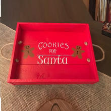 Cookies For Santa Printed Christmas  Gifted wooden Serving tray With Rope handle