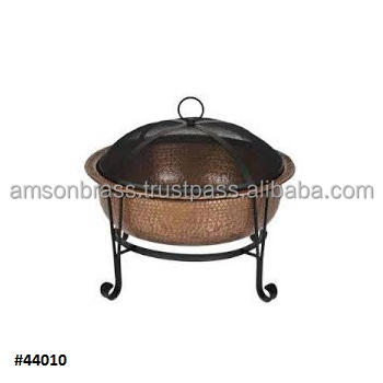 Hammered Big Size Outdoor Wood Burning Fire Pit with Mesh Lid