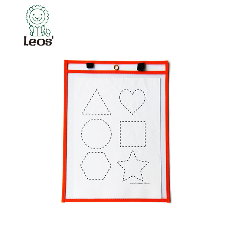 PVC learning dry erase pocket with elastic band