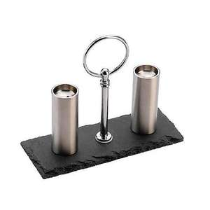 Stainless Steel Salt Pepper Set Will Suit any Table with Slate Base