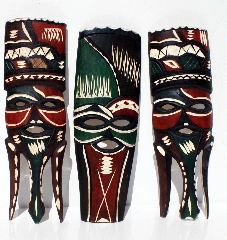 African Wooden Masks Handmade in Swaziland, Africa Collectible African Artwork Carved Home Decor
