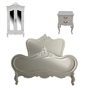 Furniture Mahogany Wooden La Rochelle Bedroom Set White Color French Style