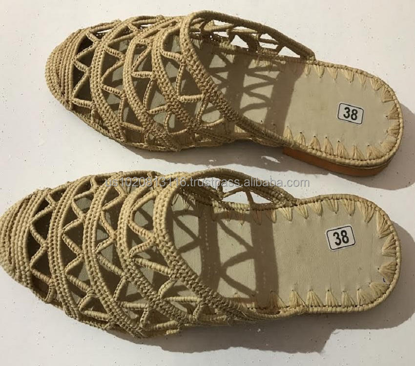 Top Quality Moroccan Handmade Raffia Slipper Shoes