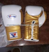 Metallic Golden leather Lace up Winning Boxing Gloves professional kick boxing fighting gloves