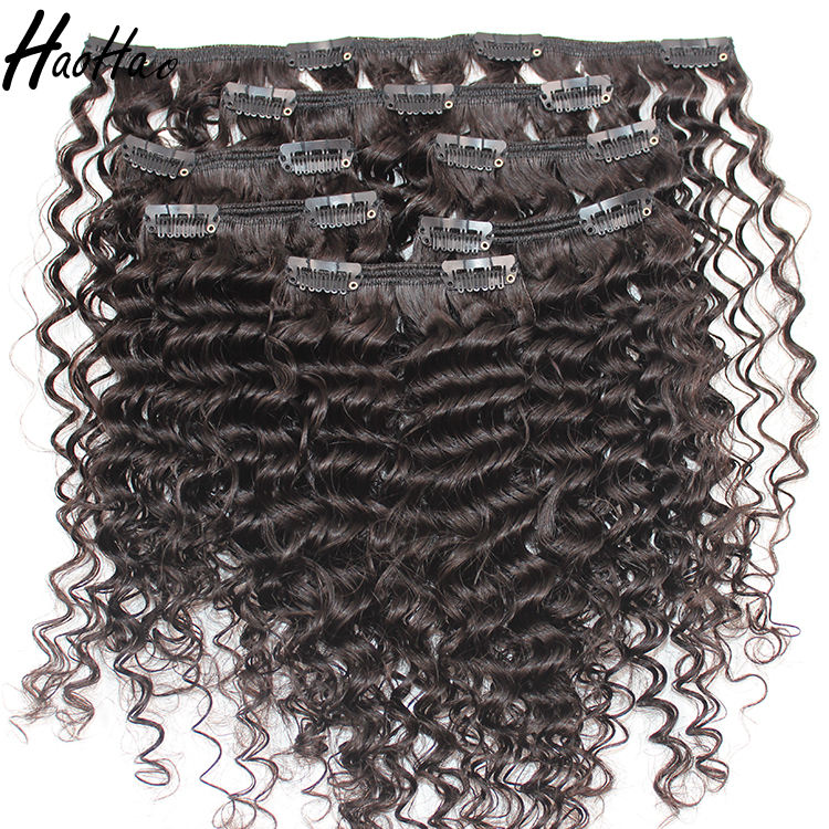 100% indian human hair natural color kinky curly clip in hair extensions
