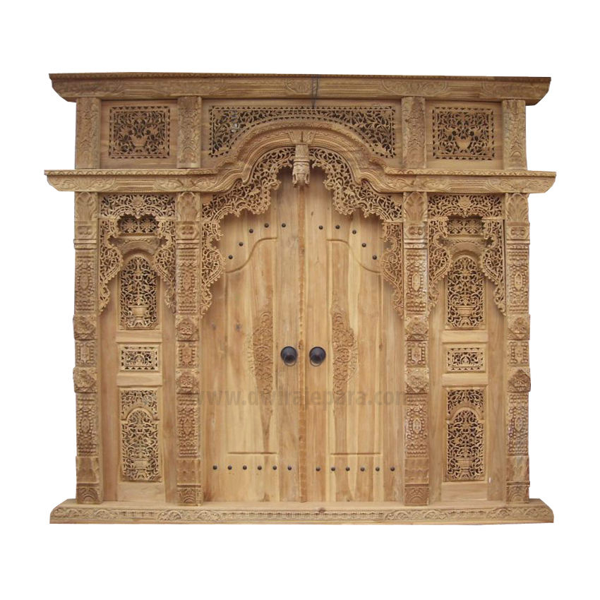 Classic Teak Wood Gebyok Ethnic Style, Full Carving Door Model Javanesse Carving.