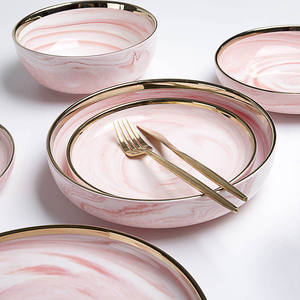 Nordic Restaurant Crockery Pink Dinnerware  Marble Porcelain Dinner Dish Ceramics Plate  Gold Rim Dinner Plate Tableware Set<