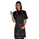 POLYESTER BLACK COLOR WITH RED PROFILES WOMEN FASHION KITCHEN RESTAURANT ADJUSTABLE SINGLE SIZE MADE IN ITALY FOR WORK APRON