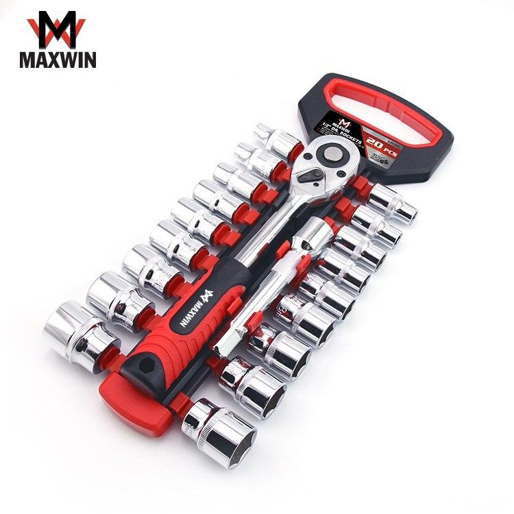 20 PCS Car Repair Hand Tools 1/2 Drive Chrome Vanadium Socket Ratchet Wrench Set