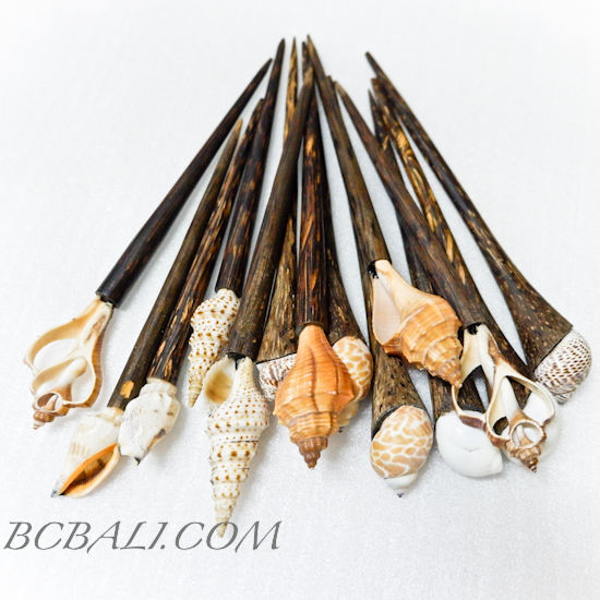 Wooden Coconut Hair Stick Women Accessories with Seashells Organic 100 Pieces Free Shipping Airfreight Door to Door Service