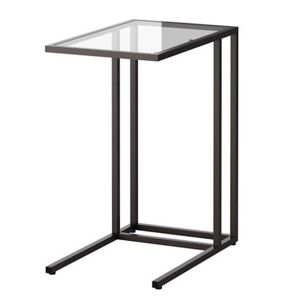Metal C Side Tray Table For Living Room with Tempered Glass Top