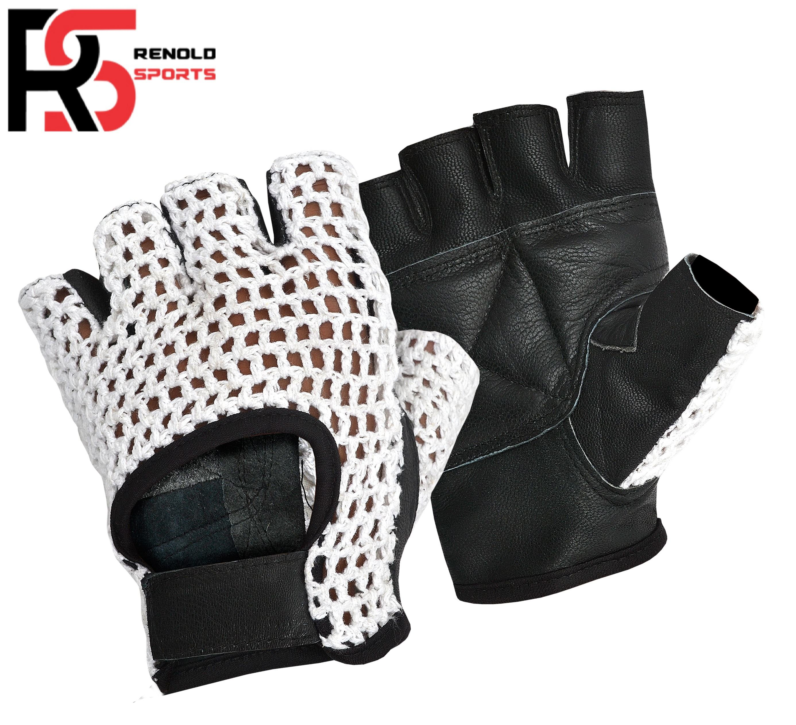 CHEAP PRICE WEIGHT LIFTING GLOVES WHOLESALE CUSTOM SIZE BODYBUILDING GLOVE LONG LASTING LEATHER CROCHET FITNESS l RENOLD SPORTS