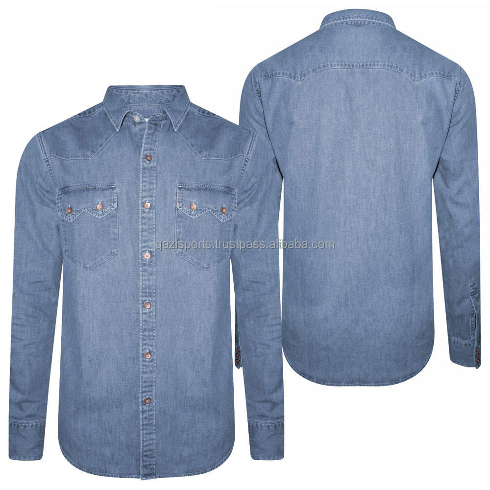 Denim Blau Mann Slim Fit Shirt