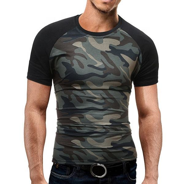 Mens Summer Cotton Camo Printed Short Sleeve O-neck Casual T-shirts FSW-4020