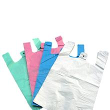 Free sample 100% biodegradable t-shirt plastic handle carry bag for grocery package