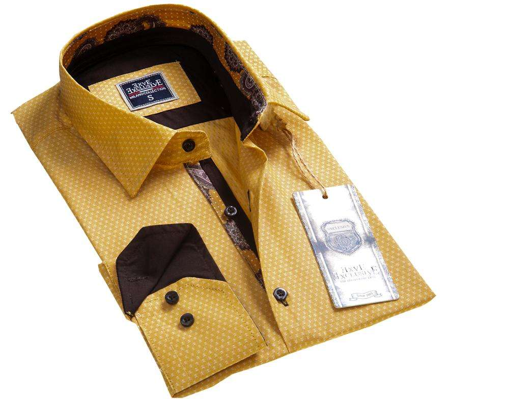 Yellow Brown Neck Men Shirt