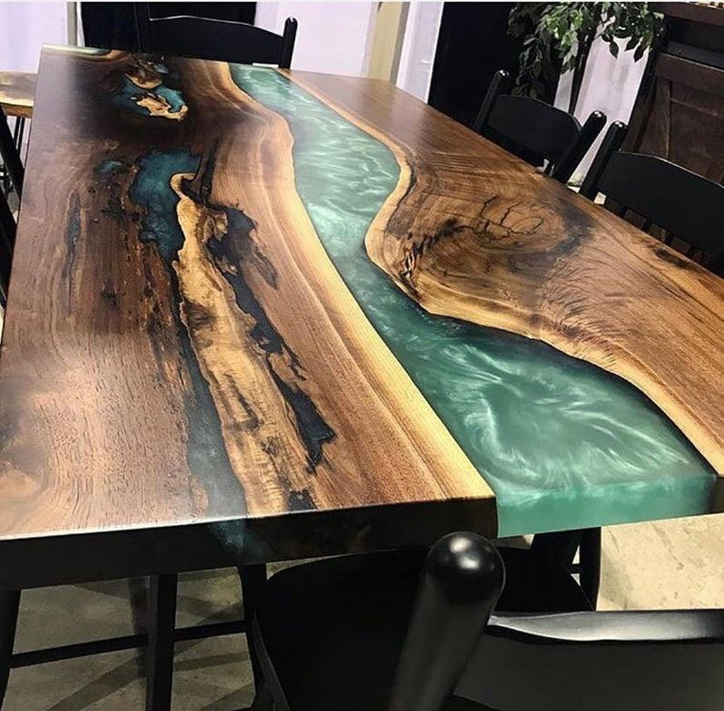 Industrial Epoxy Resin Wooden Dinning Table