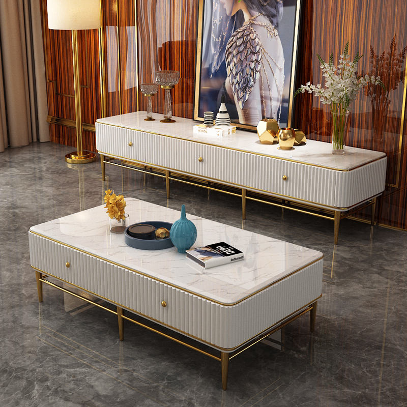 stainless steel leg marble top coffee table wooden set modern design living room furniture