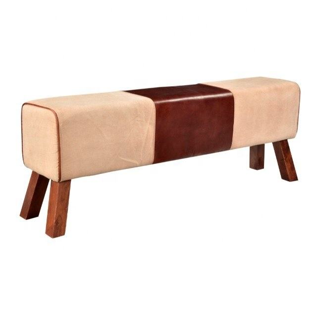 Canvas & Leather Gym Bench Wooden Stool, Living Room Ottoman Coffee Bench