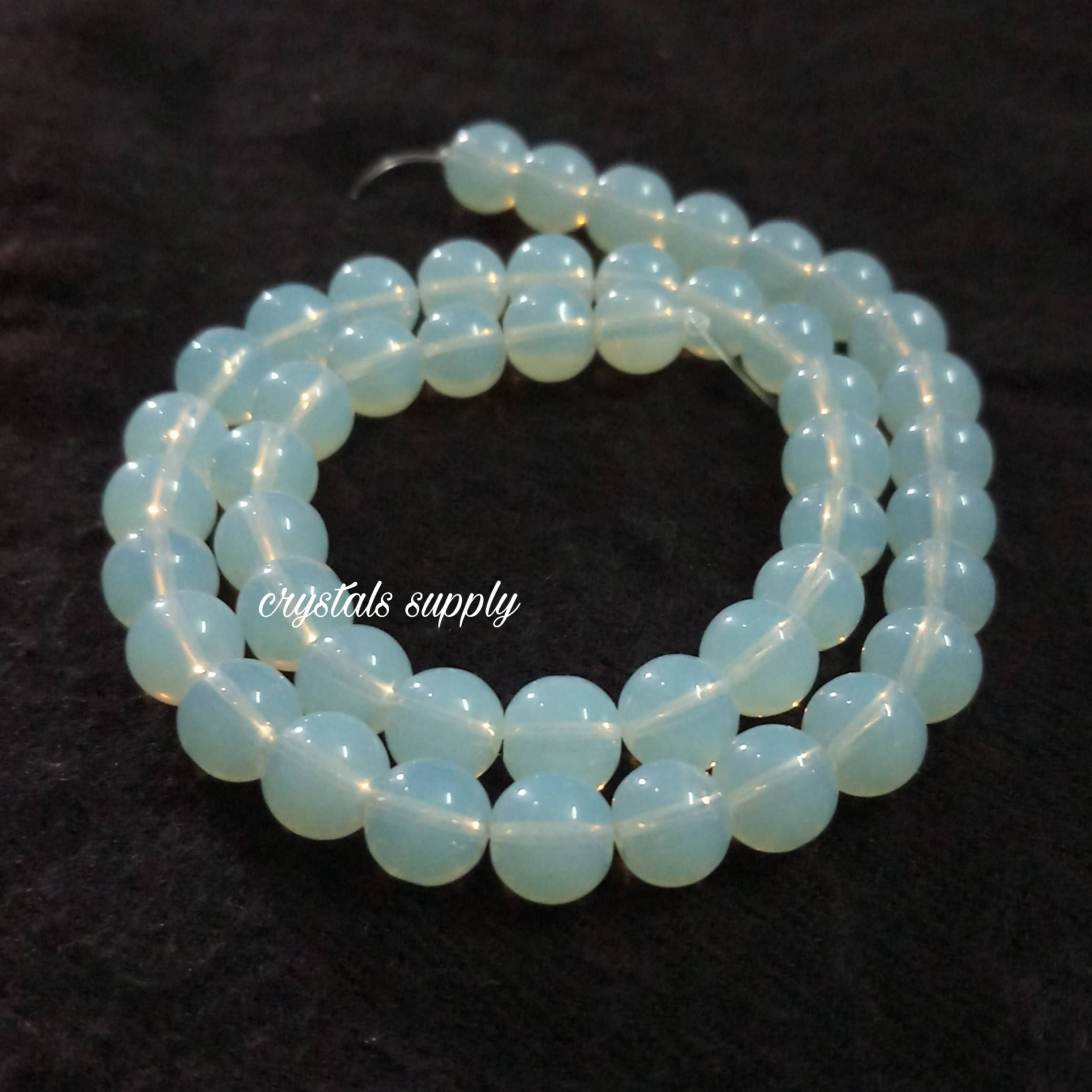 Opalite Beads For Jewelry Making : Loose Round Blue Opal Gemstone Beads Opal Opalite Beads