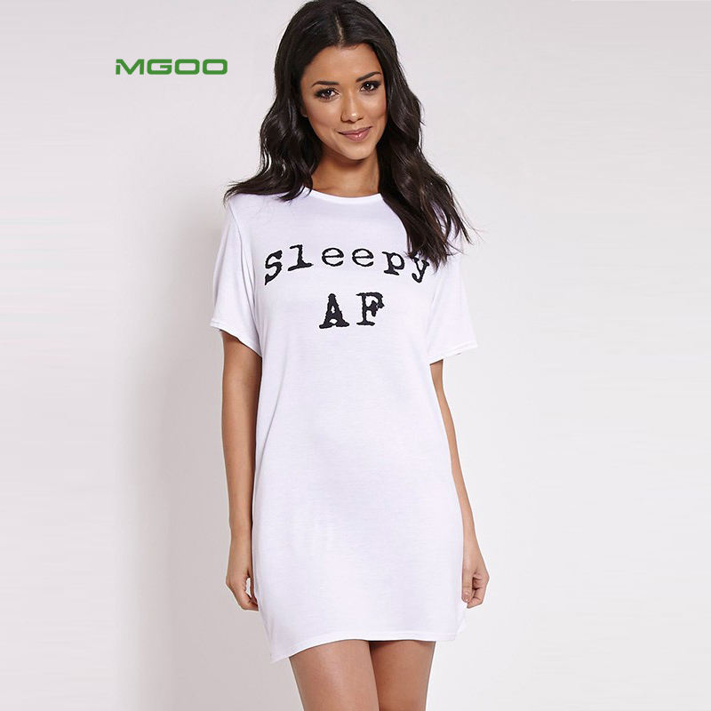 MGOO OEM White Color Night Shirts Letter Custom Printed Sleep Dress O Neck Short Longline Sleepwear