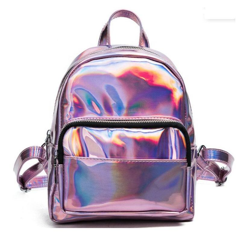 Holographic Laser PU Backpack Girls Pink Silver Mini Backpack