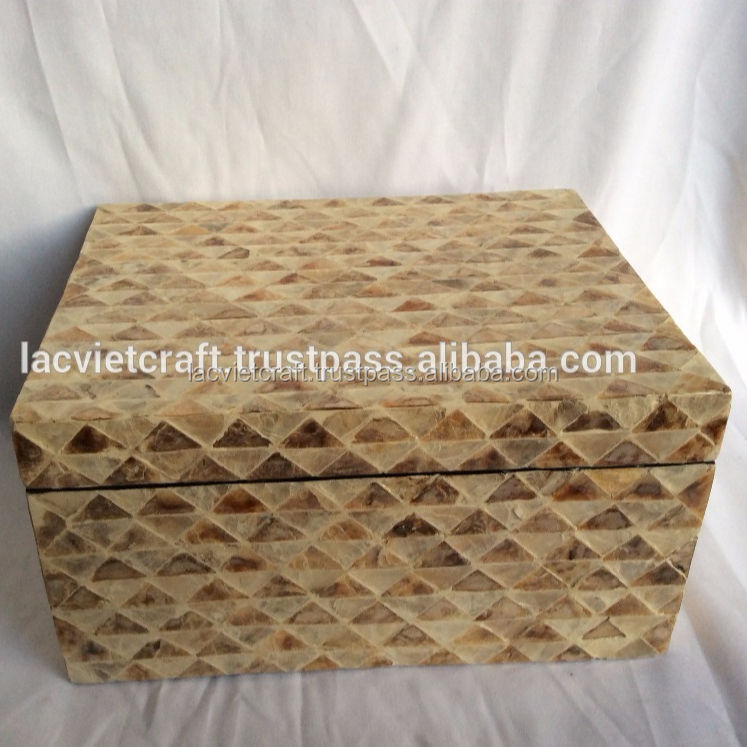 High quality best selling gift MOP box in gold color from Viet Nam