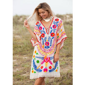 Eye Catching Bohemian Summer Cotton Tribal Traditional Short Dress India Suzani Floral Embroidered Women Boho Beach Wear Tunic