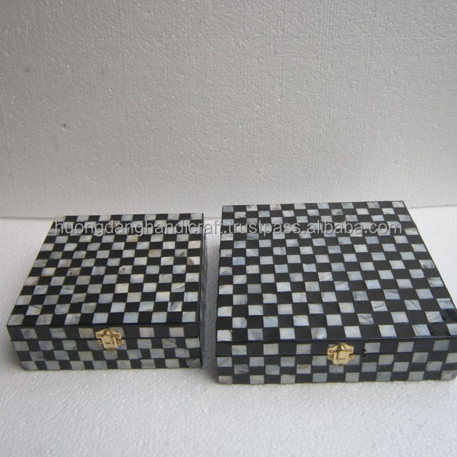 Original Caro design lacquer square box, box with seashell covered, box from vietnam