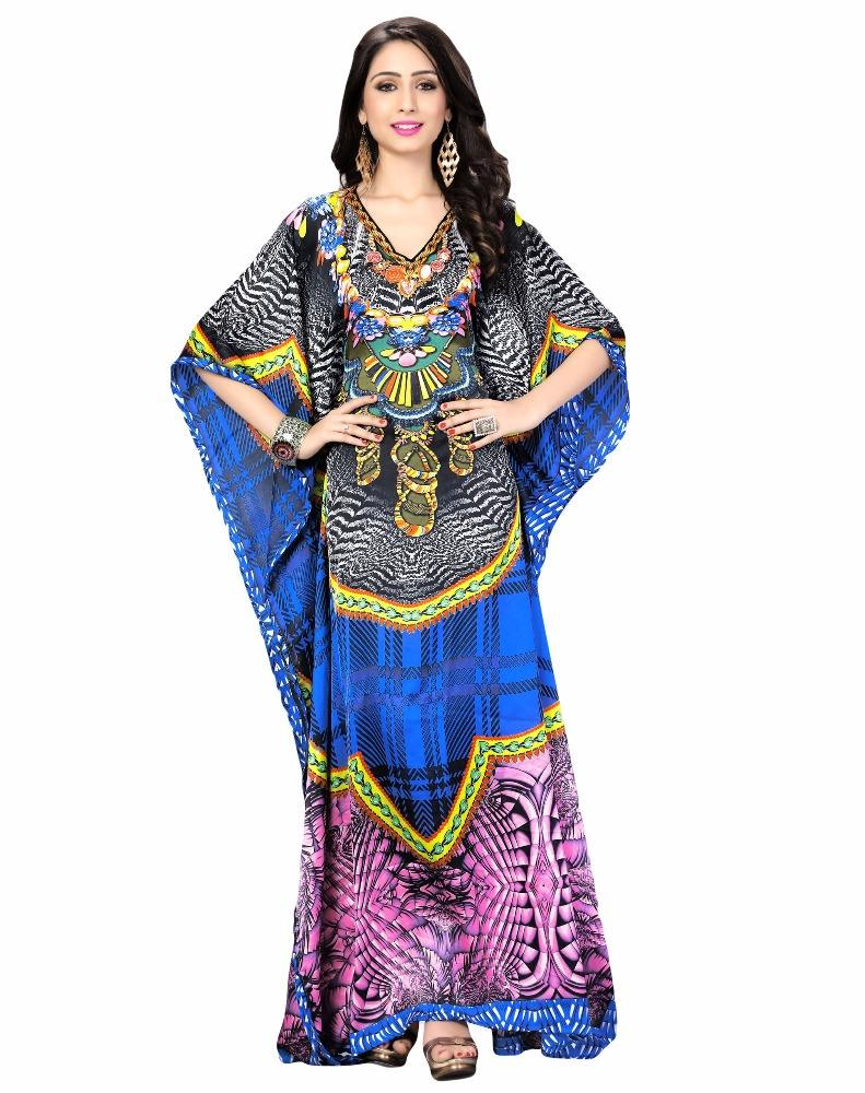 Women's Multi-Colour Satin Silk Digital Printed Stylish Kaftan / Smart Wear Kaftan / Style Kaftan (kaftan dress)
