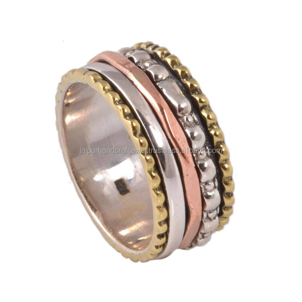 925 de plata esterlina elegante Triple mixto Metal Spinner anillo