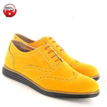 2018 Brogue Shoes Mens yellow Casual Formal Lace Up Brogue Designer flat Shoes