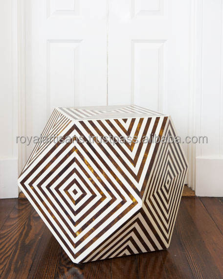 Honey Comb Design Handmade Bone Inlay Side Table / Bone Inlay Drawer / Bone Inlay Furniture