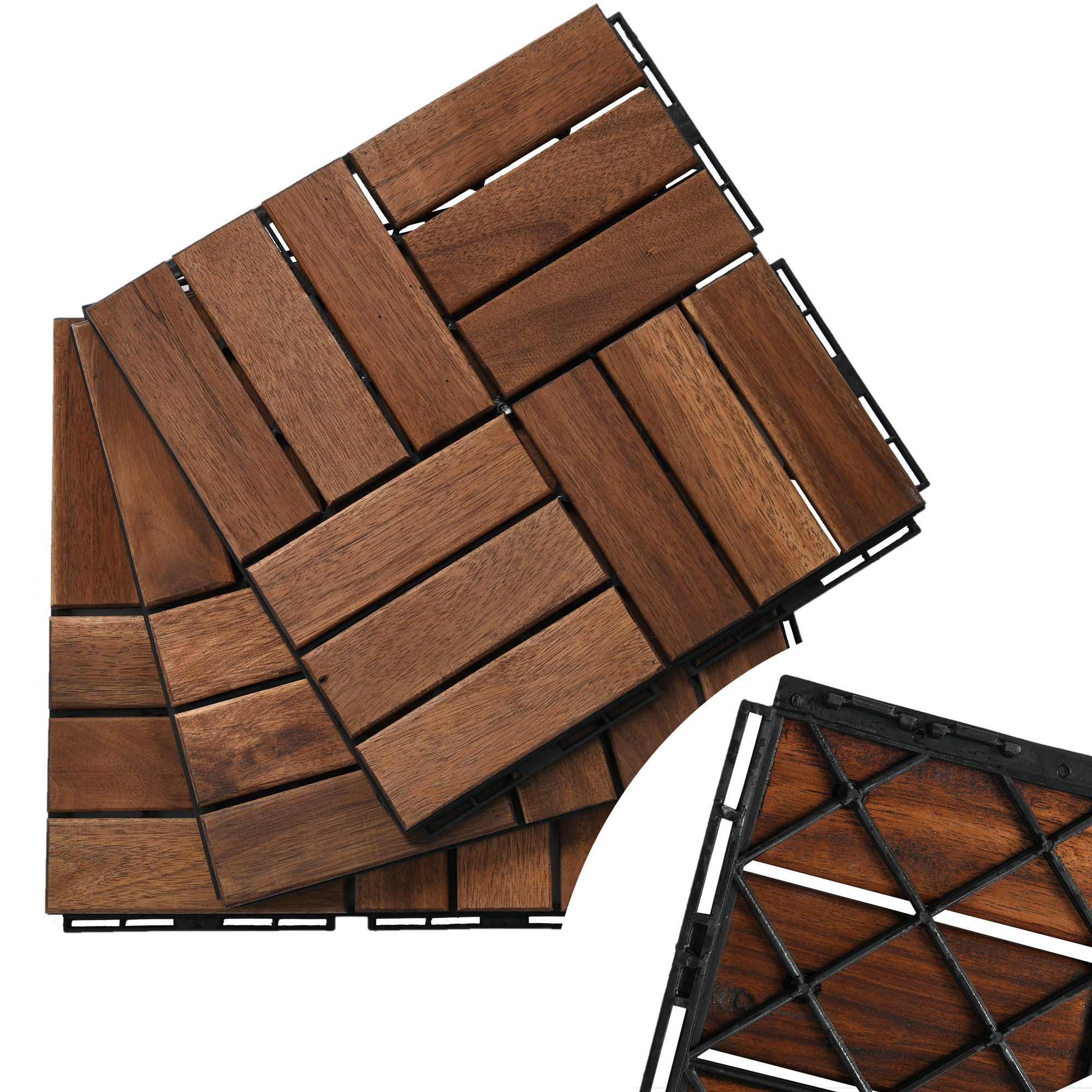 Vietnam High Quality Wood Deck Tiles 30x30x1.9 cm - Long Lasting Interlockking Outdoor Decking by Oil Coating