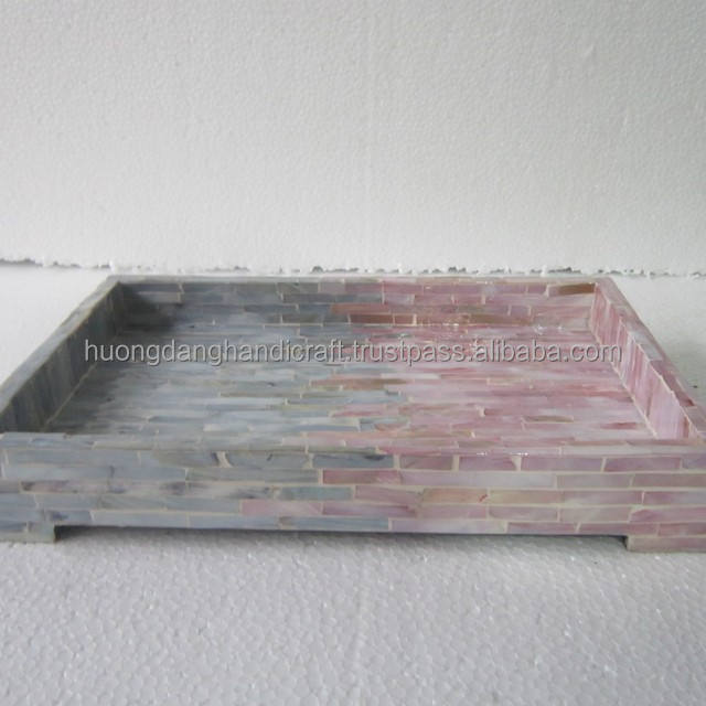 Ecofriendly Retangular lacquer tray with blue and pink covered
