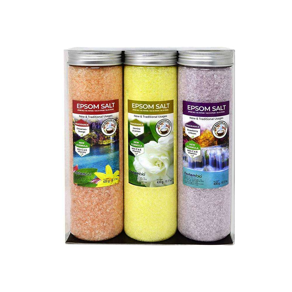 Epsom Salt NortemBio Pack 3x430g /750 g/1.25 Kg/6 Kg. Hydrated with Vitamin C and E. Bath Salts and Personal Care.